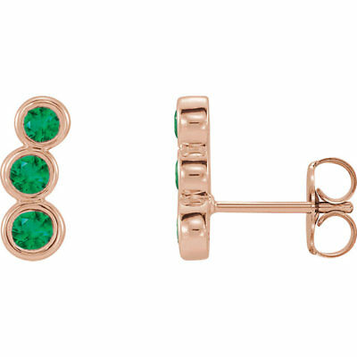 Chatham Created Emerald Three-Stone Ear Climbers In 14K Rose Gold
