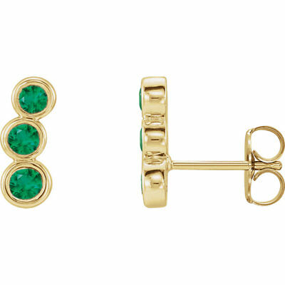 Chatham Created Emerald Three-Stone Ear Climbers In 14K Yellow Gold