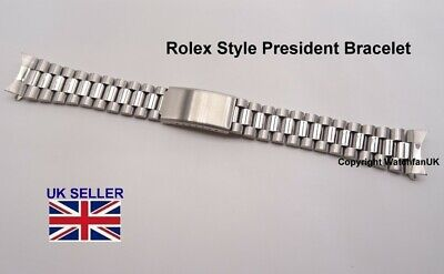 Steel President Watch Bracelet Curved Ends Fits RLX + Many 18mm 20mm 22mm