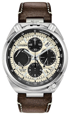 New Citizen Eco-Drive Tsuno Chronograph Men's Leather Strap Watch AV0079-01A