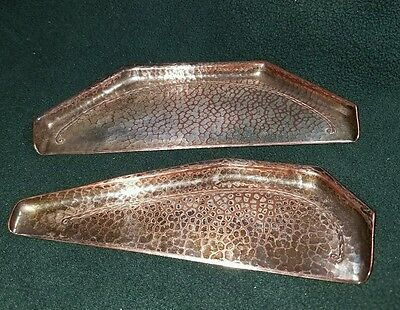 RARE ROYCROFT HAMMERED COPPER IN SILVER  PLATED CRUMBER TRAYS - ARTS and CRAFTS