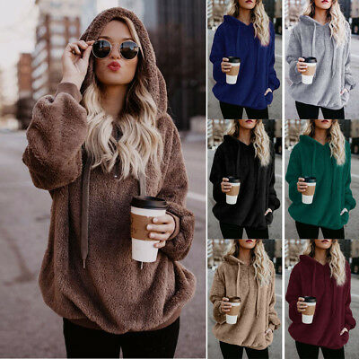 Womens Warm Fleece Hooded Fluffy Sweatshirt Hoodies Winter Jumper Coat Plus Size