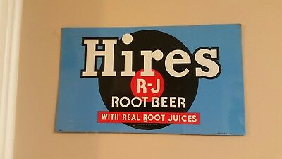 Original Rare Hires Root Beer Sign. Painted metal. Really nice colors.
