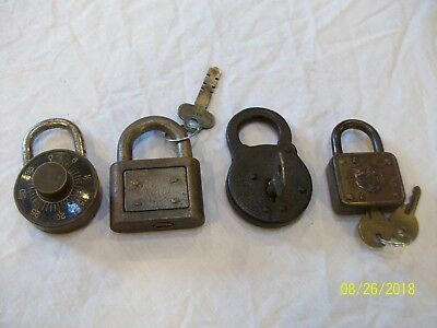 Vintage Antique Watchman Padlock, Yale, Master, Dudley with Keys 4 Lot