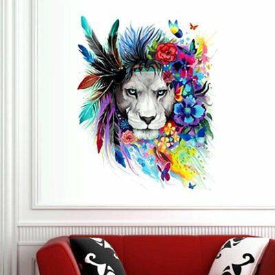 Creative Colorful Lion Head Wall Sticker Removable DIY Home Decor Wallpaper AZ