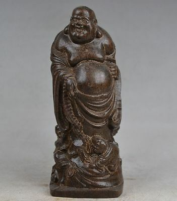 Delicate Chinese Agilawood Hand Carved Maitreya Buddha Statue Nice Nr