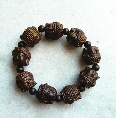 Chinese Hand Carved Natural Wood Bracelet With Buddha Head Beads Nr01