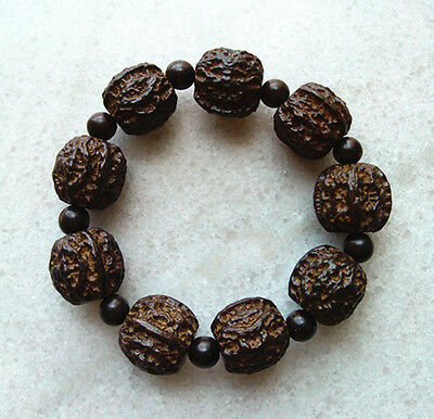 CHINESE HAND CARVED Natural Blackwood Beads Wood Bracelet with Walnuts Pattern