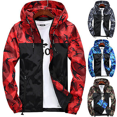 Fashion Mens Casual Army Camo Jacket Camouflage Military Hooded Coat Top Outwear