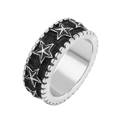 Retro Mens Womens 316L Stainless Steel Stars Band Ring Sizes 8-12