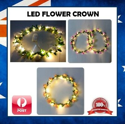 LED Light Up Flower Floral Hairband Headband Garland Crown Bride Wedding Party