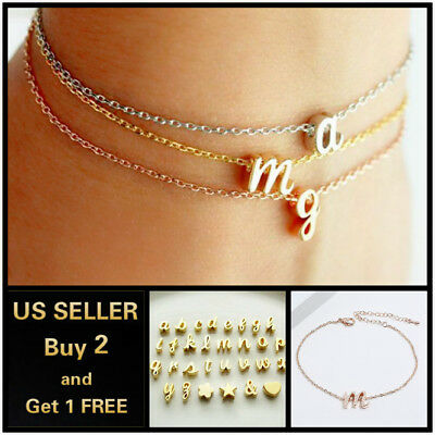 26 Initial Letters Charm Open Bracelet Bangle Cuff Love Bridesmaid Jewelry