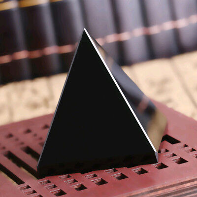 Natural 40mm Pyramid Black Obsidian Crystal Mineral Triangled Healing Stones