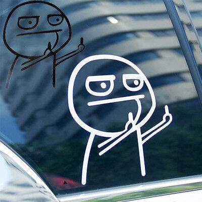 FACE MIDDLE FINGER FLIP OFF Vinyl Decal Sticker Car Window Wall Bumper Funny
