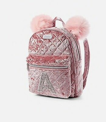 NWT Justice Girls Velvet Quilted Initial MINI Backpack! You Choose Letter!