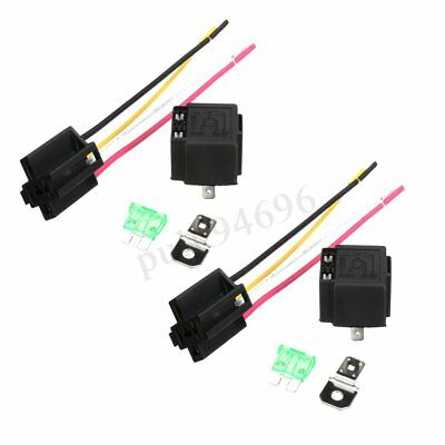 2x 12V On/Off Fused Relay 30A 4/5 Pin + Holder Socket Motorcycle Car Truck Van