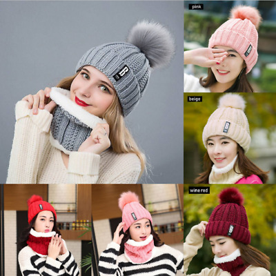 2Pcs Scarf Hat Women Winter Warm Solid Pompoms Knitted Soft Caps Scarves Set New