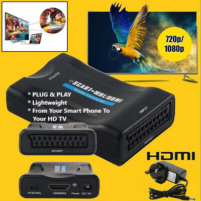 1080P Scart To HDMI MHL Converter Audio Video Adapter For HD TV Sky Box STB DVD