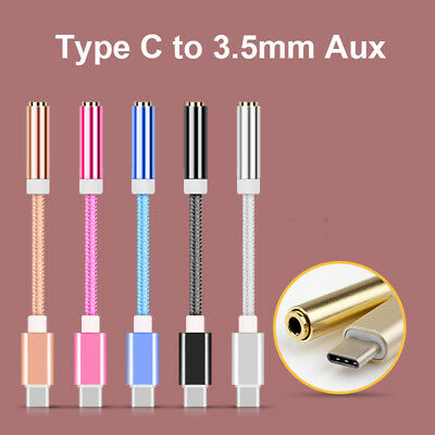USB-C Type C Adapter Port to 3.5MM Aux Audio Jack Earphone Headphone Cable USB