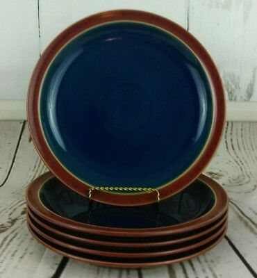 Harlequin by Denby Langley Lot of 5 Dinner Plates Blue with Red Rim Discontinued