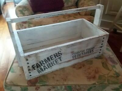 Vintage Old Wooden Carpenter's Tool Box Farm house Primitive Carrying Tote Caddy