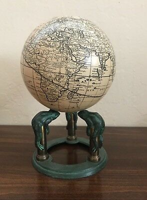 Rare Find Globe Terrestre Paris France with bronze stand 3 frogs