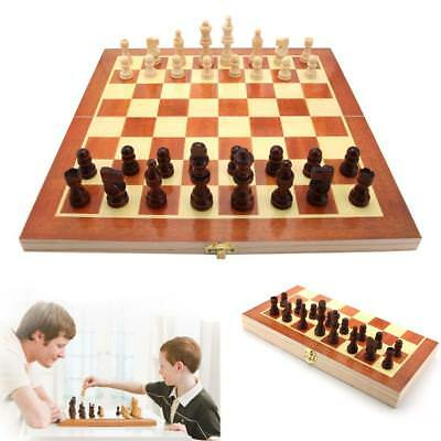 Vintage Wood Pieces Chess Set Folding Board Box Wood Hand Carved Gift Kid Toy @T