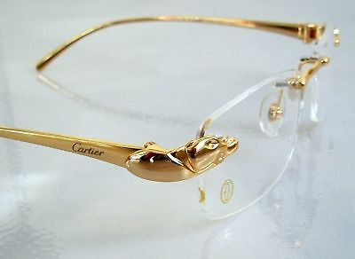 bd9450faa3 Mont Blanc Eyeglass Rimless big cat leopard Frame Gold New with case