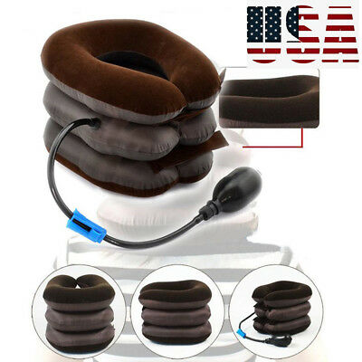 US-New Air Inflatable Pillow Cervical Neck Headache Pain Traction Support Brace