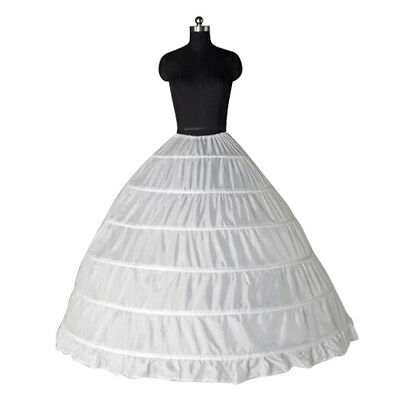 6 Hoop Ptticoat Crinoline White Petticoats 3 Hoop Wedding Gown Skirt Slip NEW
