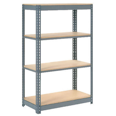 "Boltless Heavy Duty Shelving 48""W x 18""D x 60""H, 4 Shelves, Wood Deck, Lot of 1"