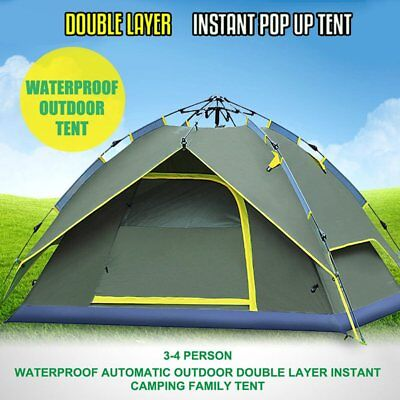 4 Person Double Layer Instant Pop Up Large Camping Tent Outdoor Shelter MBD*