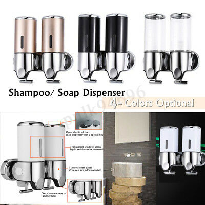 2x 500ML Wall Mounted Bathroom Shower Soap Dispenser Liquid Soap Shampoo Bottles