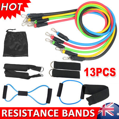 13PCS Heavy RESISTANCE BAND Yoga Band Tension Door Loop ABS Gym Fitness Workout