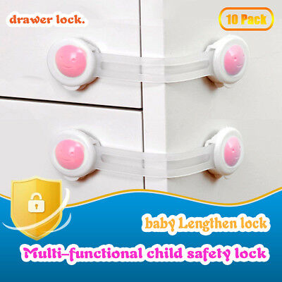 10Pcs Drawer Door Cabinet Cupboard Safety Locks For Baby Kids Child Toddler HOT