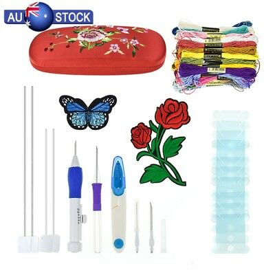Embroidery Pen Magic Knitting Punch Needle Sewing Tool Kit + 50 Threads Set DIY