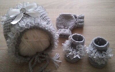 Hand Knitted Baby Bonnet / Hat, Mittens And Shoes. New Born +