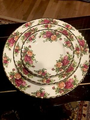 ROYAL ALBERT OLD COUNTRY ROSES TRIO SET 3 PIECE Dinner Salad Bread Butter Plates