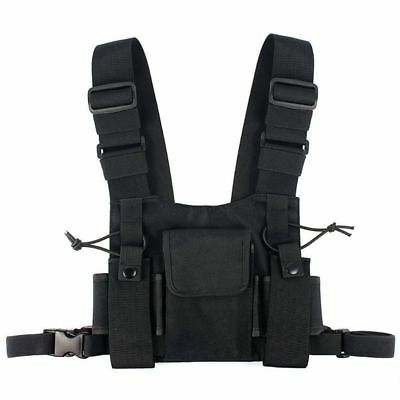 1X(Radios Pocket Radio Chest Harness Chest Front Pack Pouch Holster Vest Rig  P8