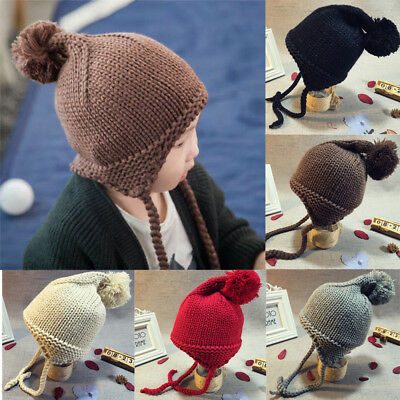 Baby Toddler Kids Boys Girls Knitted Crochet Beanie Hat Winter Warm Earflap Cap