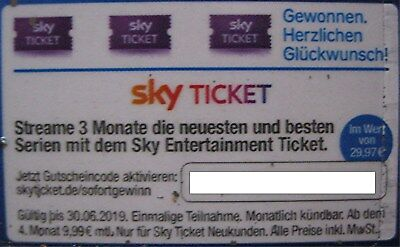 Sky Entertainment Ticket neue Serien 3 Monate gratis bis 30.06.2019 Wert: 29,97€