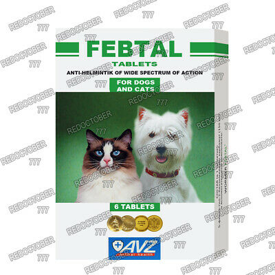 Febtal Worming tablets Multi Wormer, dewormer, for cats and dogs 6 tablets