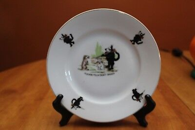 "Felix the Cat ""Please Felix Don't Shoot"" Plate Czechoslovakia 1920s to 1930s GUC"
