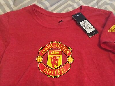 WOMENS ADIDAS MANCHESTER United Fc Short Sleeve T Shirt Large L Red ... 31c988adf