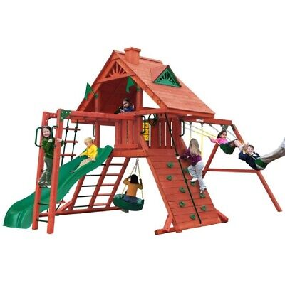 NEW Gorilla Playsets Sun Palace II Swing Set with Rock Wall with Climbing Rope