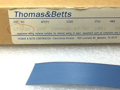 """171-20 T&B .050"""" Pitch Flat Cable 28 Awg 30 Pieces"""