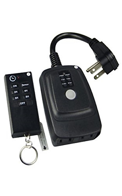 ECOPlugs Outdoor Light Timer with Remote, Wall Countdown Timer Switch Outlet,