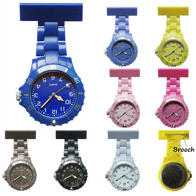Stainless Steel Metal Nurse Watch Brooch Tunic Fob Watches Pocket Pendant Quartz