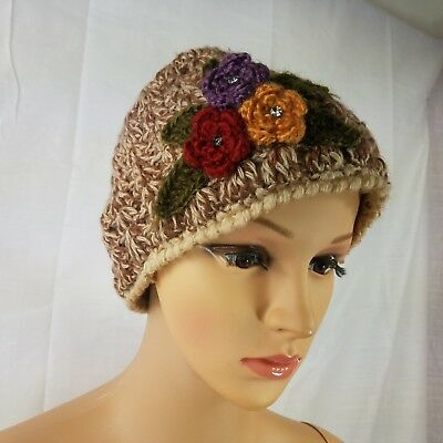 Cold Womens Floral Design Lightweight Loose Knit Beanie Hat #671 White Winter