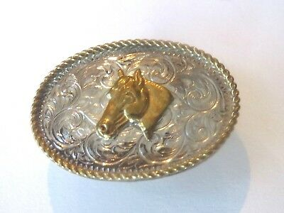 Silver with Gold Tone Rodeo Cowboy  Horse Pony Western Lapel Pin Pinback